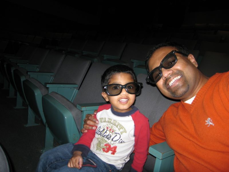 Waiting for our 3-D movie to begin