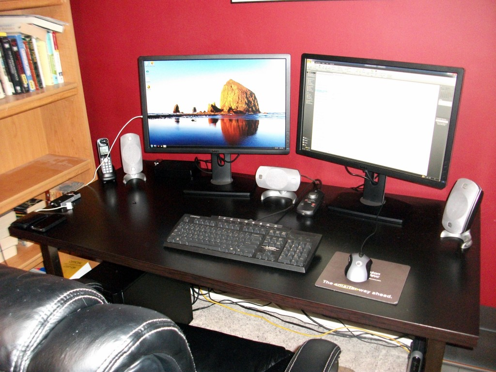 """Dual 24"""" Dell U2412M HD LCD monitors"""