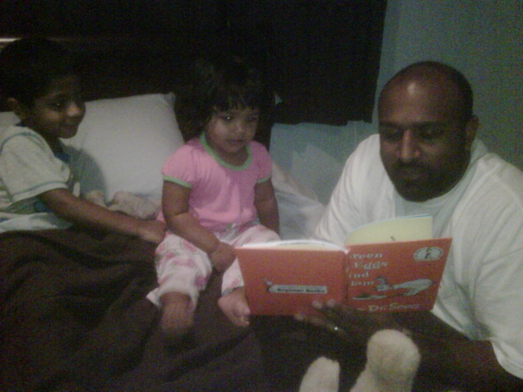 "Uncle Robbie reads ""Green Eggs & Ham"" to the kids at bedtime"
