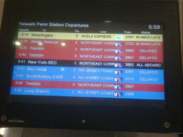 Train delays at Newark Penn Station