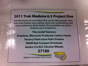 2011 Trek Madone 6.5 Project One specs