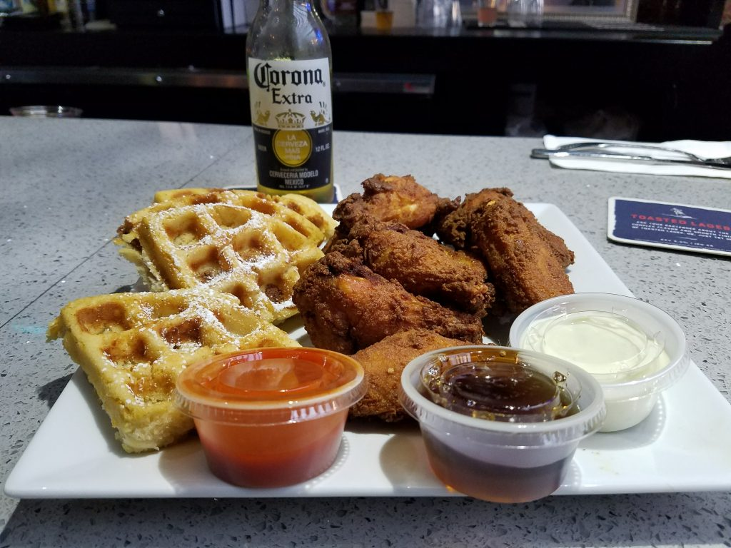 My dinner selection -- chicken wings and waffles (plus a Corona)